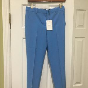 THEORY Blue Crop Cuff Pants New Stretch Wool Sz 0